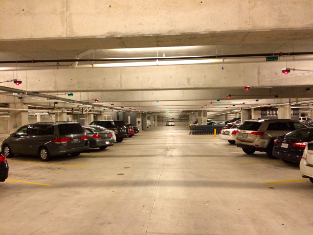 Lights indicate which spots are open at the underground parking lot.